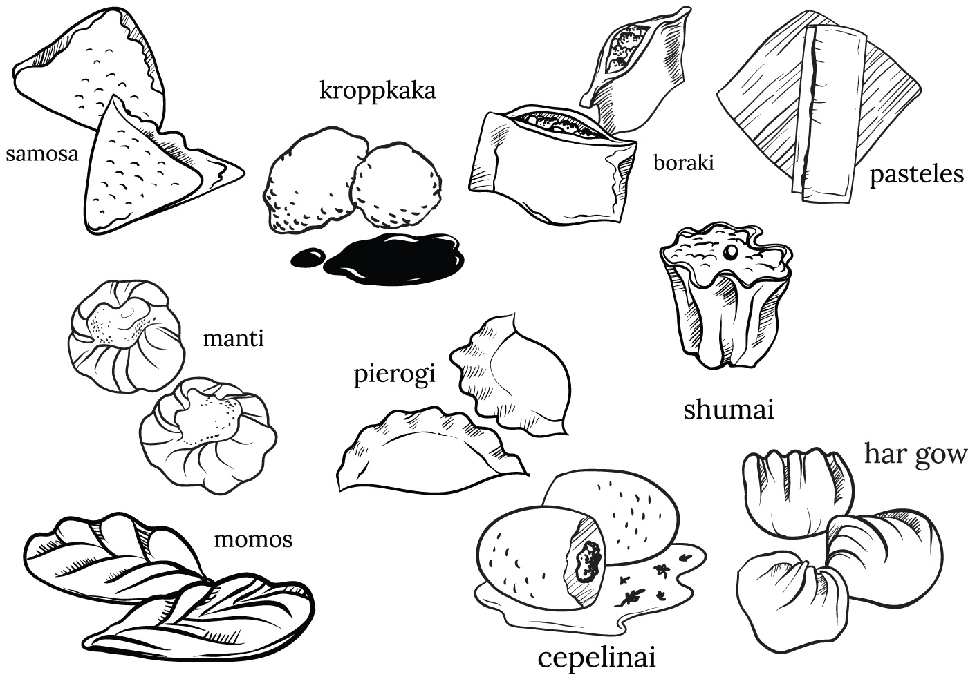 Pierogies clipart clip art black and white library Pierogi Free Vector Art - (7 Free Downloads) clip art black and white library