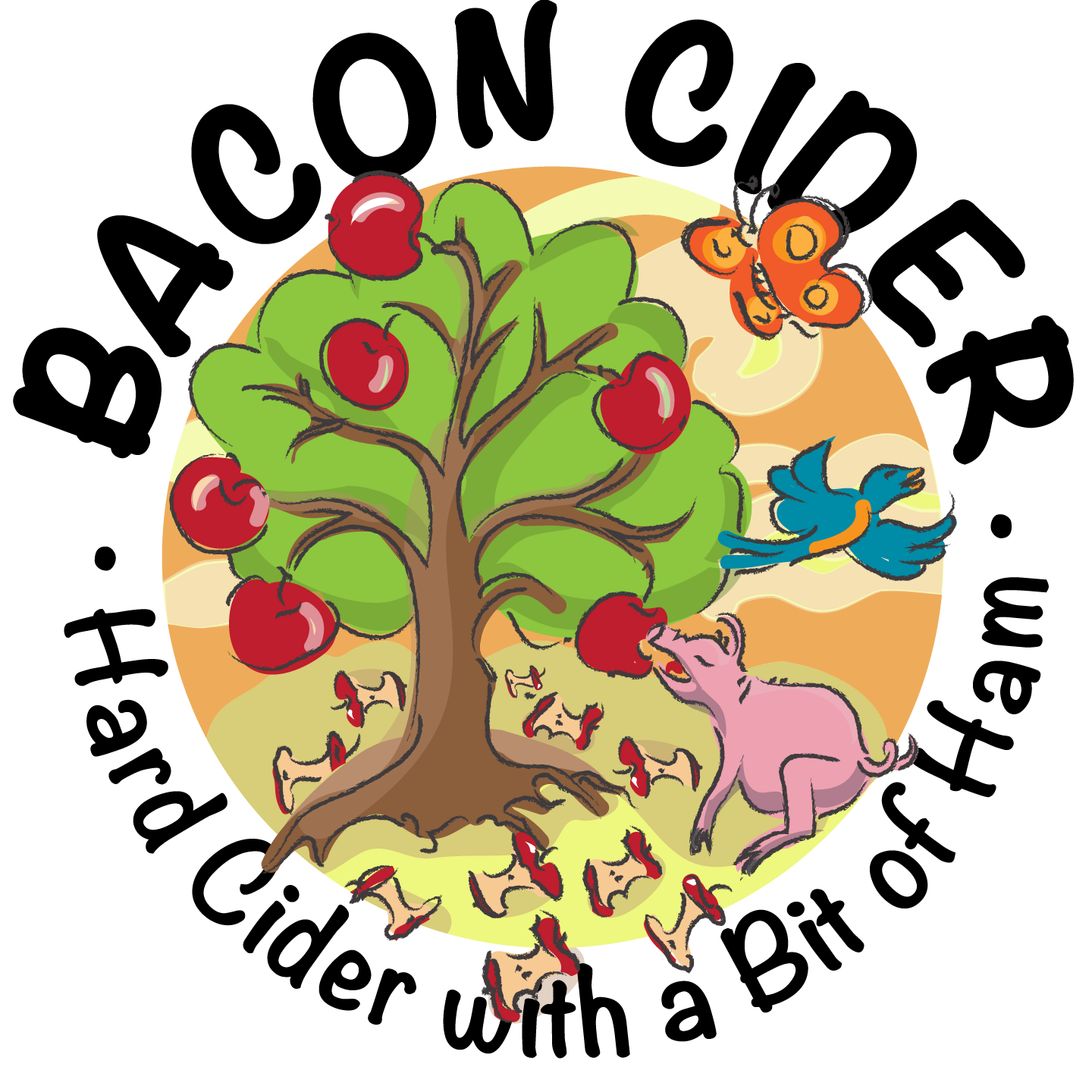Pig and apple tree clipart svg transparent library Bacon Beer Label | Flying Cloud Design Shop | Royalty-Free svg transparent library