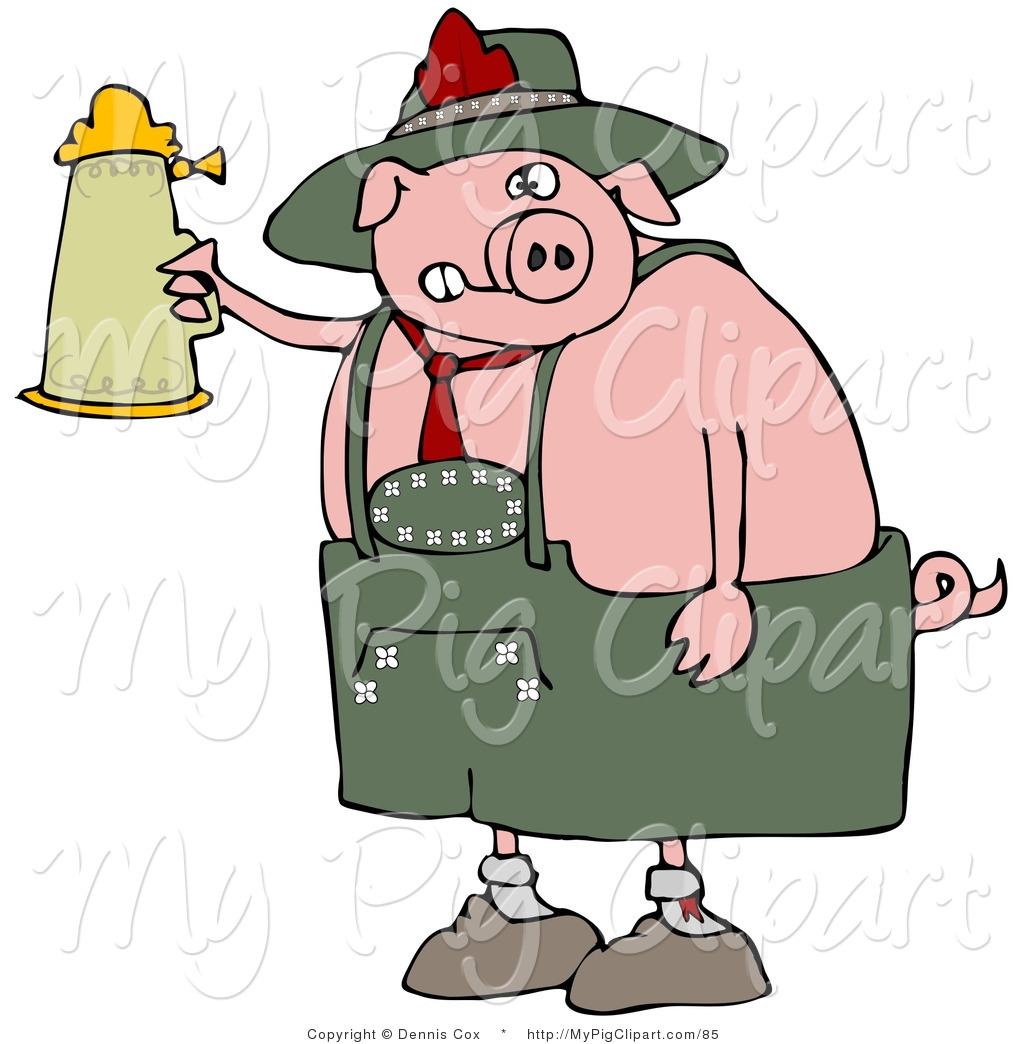 Pig drinking beer clipart vector royalty free download Swine Clipart of a Drunk Fat Pig Drinking a Beer from a ... vector royalty free download