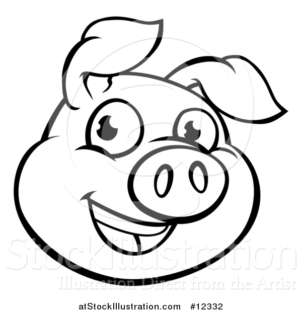 Pig face clipart black and white png library library Pig face clipart black and white 1 » Clipart Station png library library