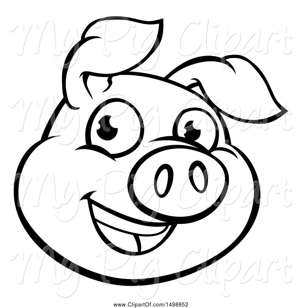 Pig face clipart black and white picture black and white download Swine Clipart of Cartoon Black and White Happy Pig Face by ... picture black and white download