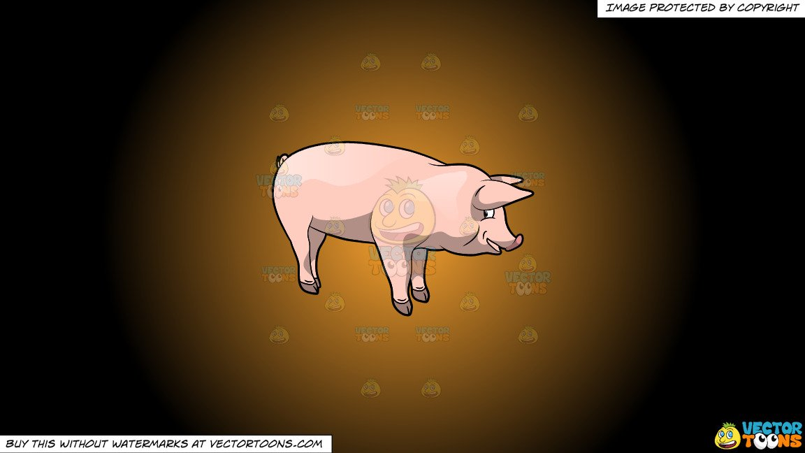 Pig head side view clipart clip art freeuse stock Clipart: A Fat Cute Pig on a Orange And Black Gradient Background clip art freeuse stock