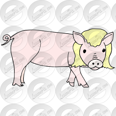 Pig in a wig clipart svg black and white PIg in a Wig Picture for Classroom / Therapy Use - Great PIg ... svg black and white