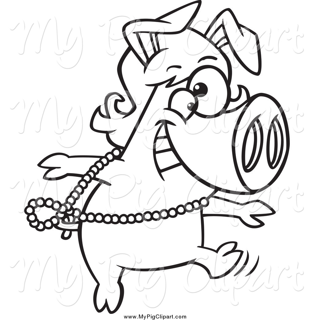 Pig in a wig clipart png free download Swine Clipart of a Black and White Dancing Pig in a Wig by ... png free download