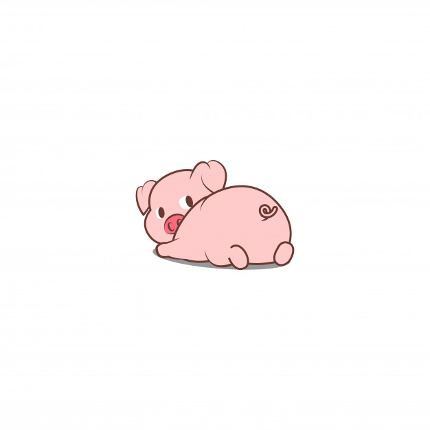Pig laying down outline clipart vector png royalty free Cute pig lying down and looking back Vector | Premium Download royalty free