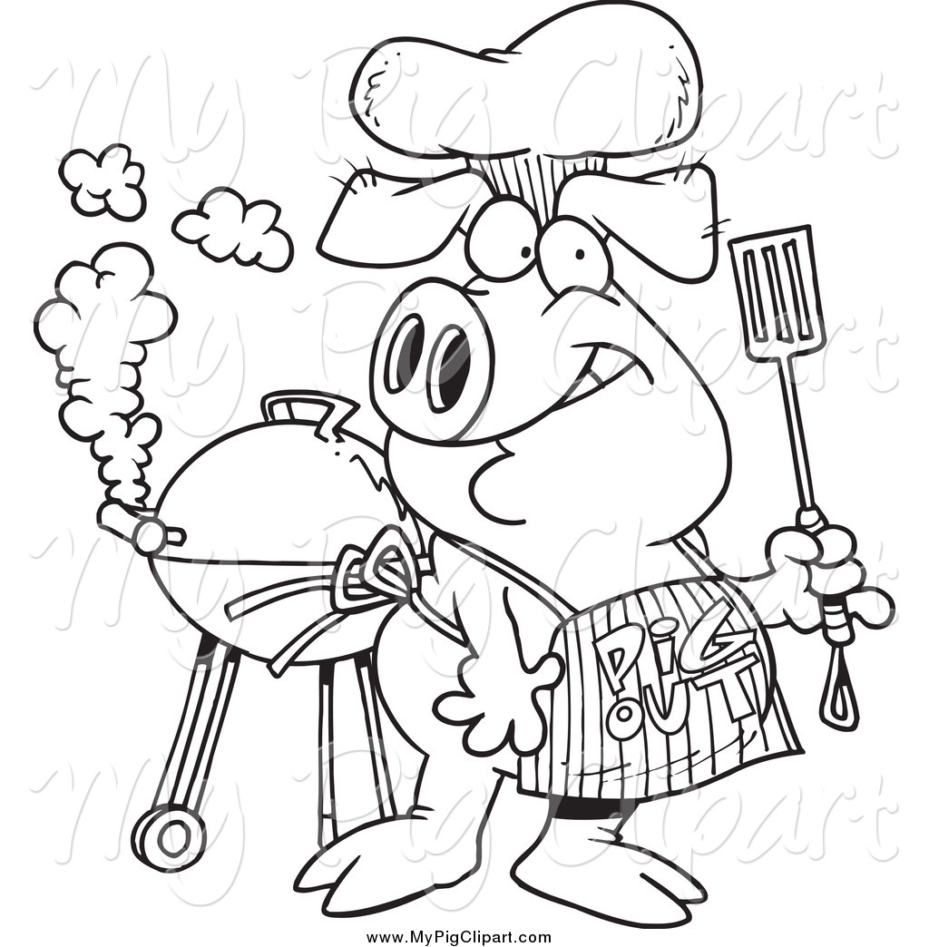 Pig out clipart royalty free download Swine Clipart of a Black and White Bbq Pig Wearing a Pig out ... royalty free download