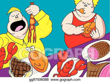 Pig out clipart svg library stock Vector Clipart - Funny buffet party pig out cartoon. Vector ... svg library stock