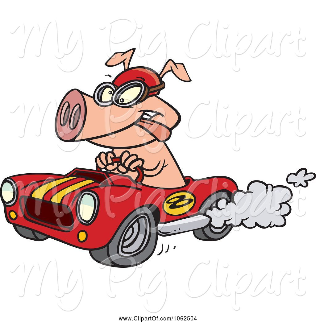 Pig racing clipart graphic library Swine Clipart of Cartoon Pig Racing a Hot Rod by toonaday ... graphic library