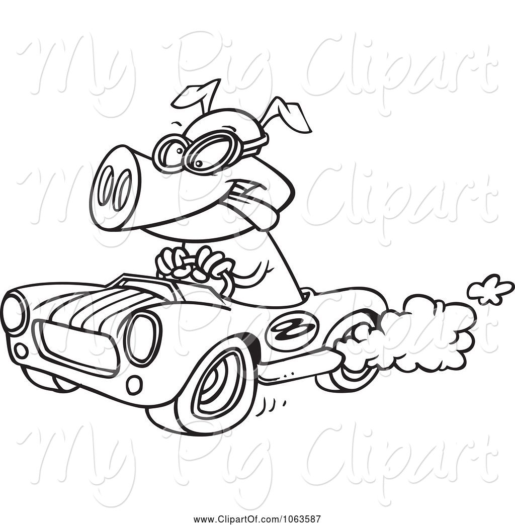 Pig racing clipart clip art black and white download Swine Clipart of Cartoon Pig Racing a Hot Rod Black and ... clip art black and white download