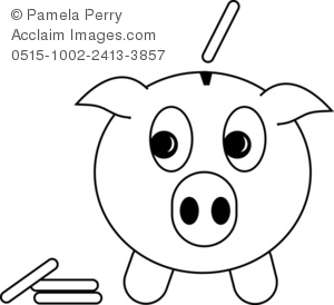 Piggy bank clipart black and white png freeuse library Clip Art Illustration of a Cartoon Piggy Bank With Coins - Acclaim ... png freeuse library