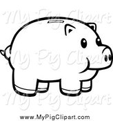 Piggy bank clipart black and white image transparent stock Royalty Free Stock Pig Designs of Retirement Plans image transparent stock