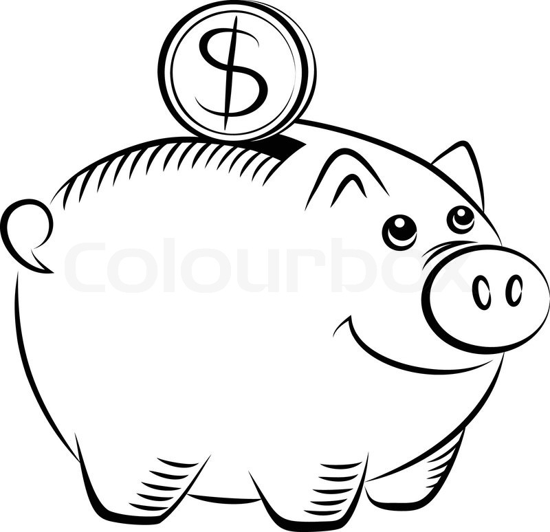 Piggy bank clipart black and white picture free library Piggy bank set 16 | Stock Vector | Colourbox picture free library