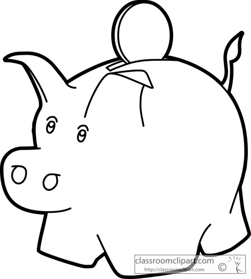 Piggy bank clipart black and white picture black and white stock Piggy Bank Outline Clipart - Clipart Kid picture black and white stock
