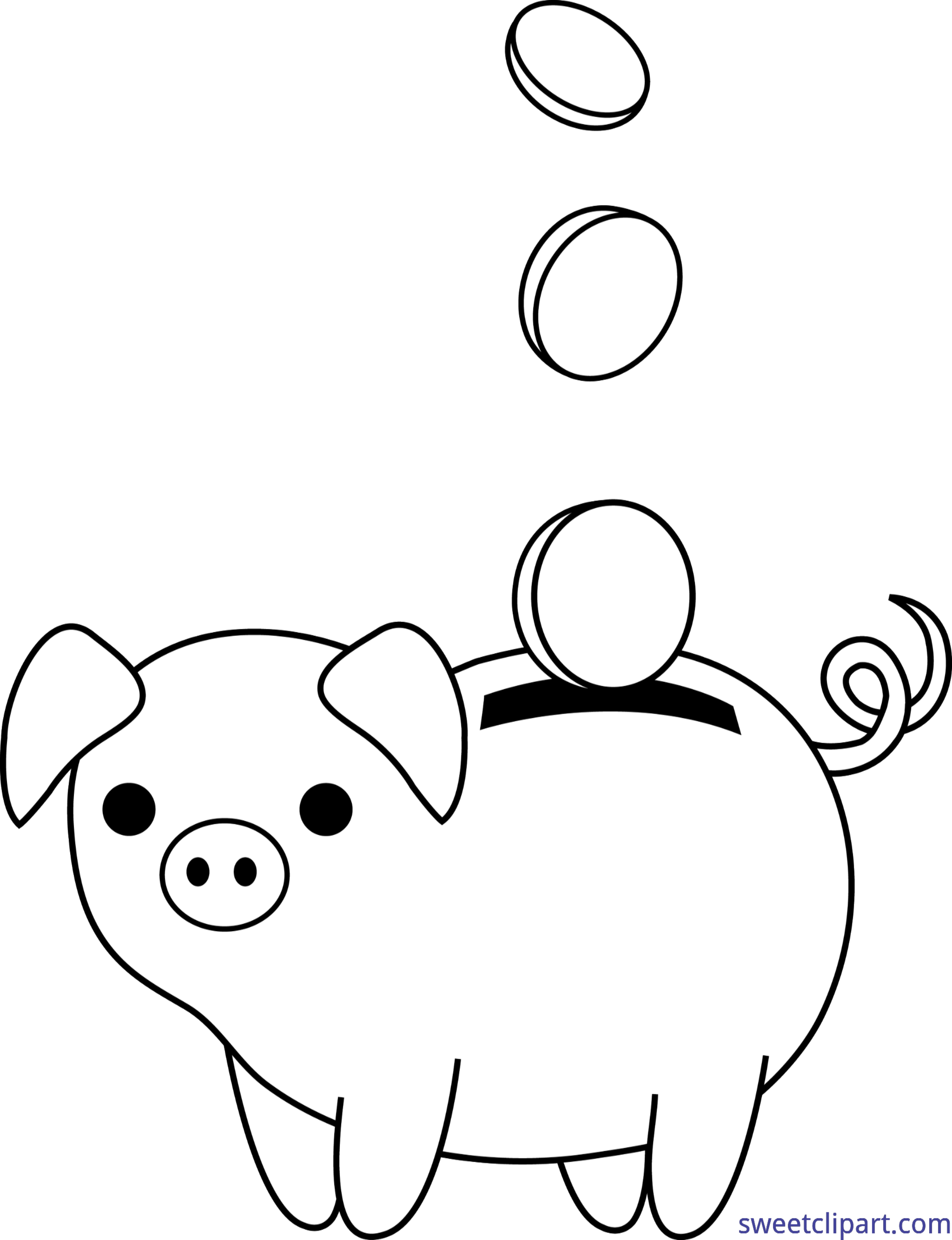 Piggy bank clipart kids image stock Finance Piggy Bank Coins Lineart Clip Art - Sweet Clip Art image stock