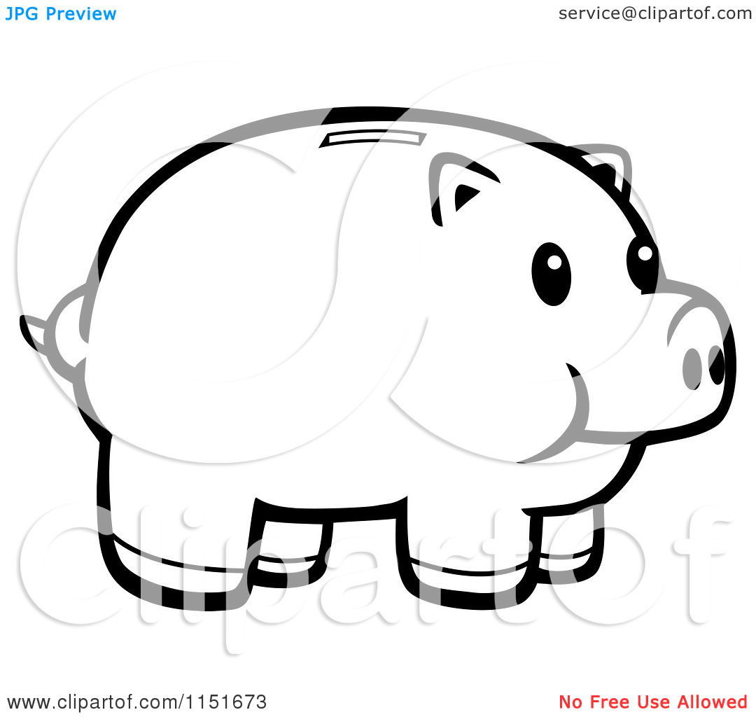 Piggy bank clipart black and white banner library stock Cartoon Clipart Of A Black And White Piggy Bank - Vector Outlined ... banner library stock