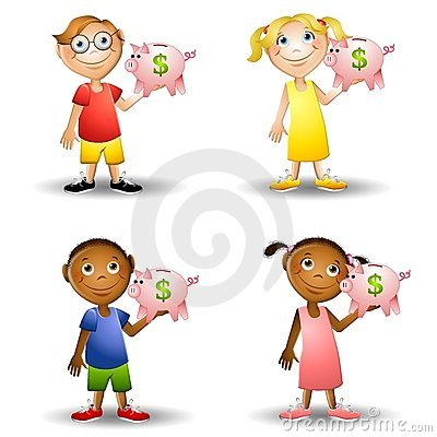 Piggy bank clipart kids jpg royalty free stock Kids Holding Money Bills Stock Image - Image: 5368401 jpg royalty free stock