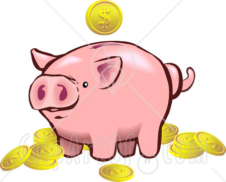 Piggy bank clipart kids saving image library Piggy Bank And Coins Clipart - Clipart Kid image library