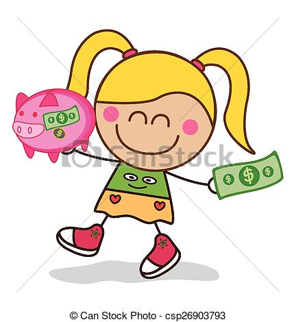 Piggy bank clipart kids saving clip art black and white library EPS Vectors of Girl saving money piggy bank csp26903793 - Search ... clip art black and white library