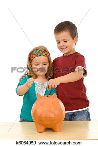 Piggy bank clipart kids saving svg free stock Stock Photograph of Kids saving coins in large piggy bank k6064959 ... svg free stock