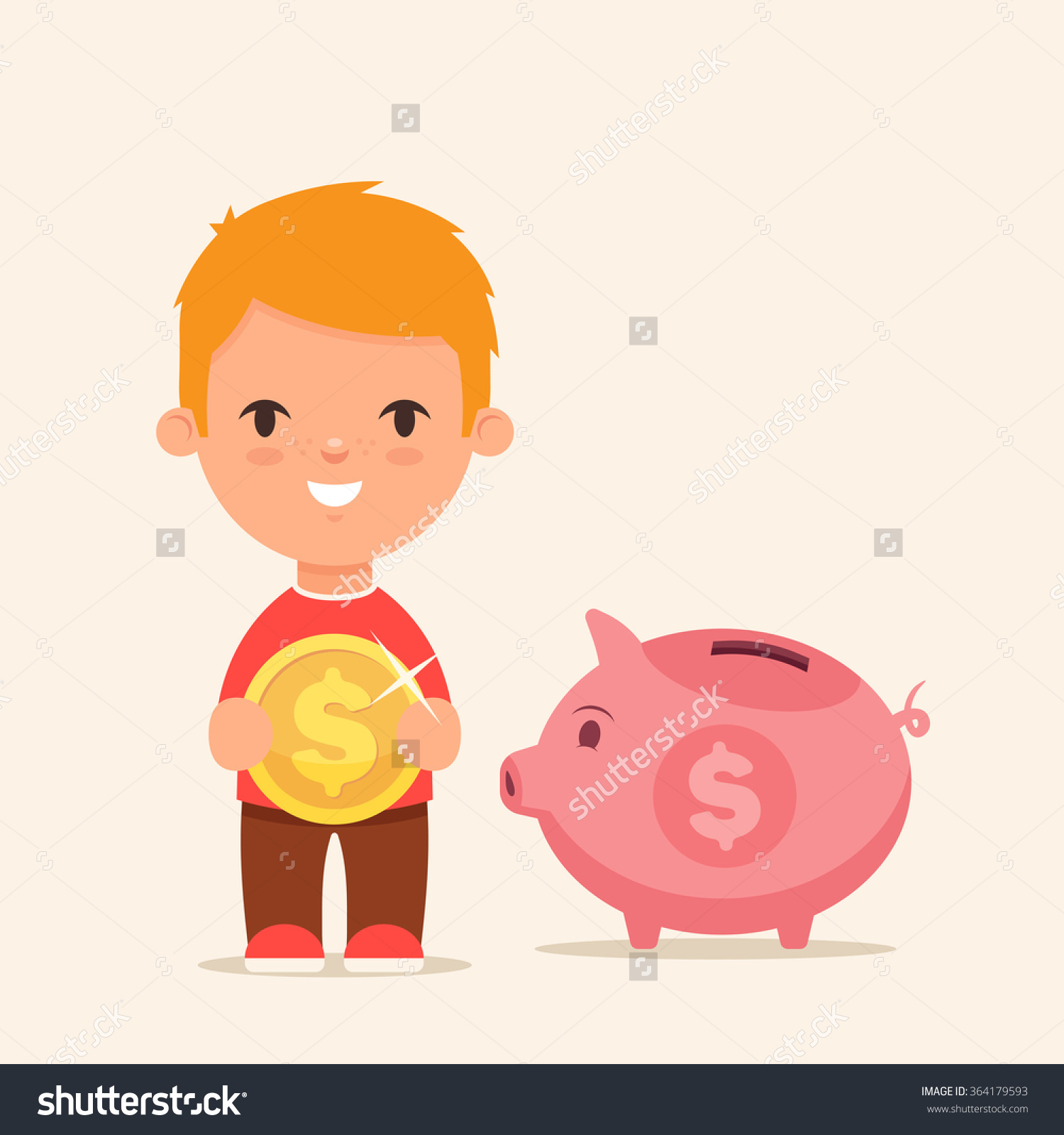 Piggy bank clipart kids saving graphic free download Cute Cartoon Kid Big Golden Coin Stock Vector 364179593 - Shutterstock graphic free download