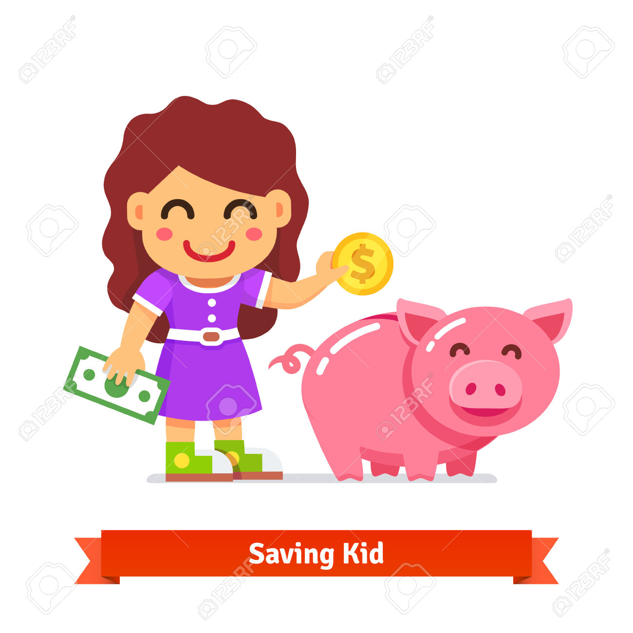 Piggy bank clipart kids saving svg black and white download Kid Saving Money In A Big Piggy Bank. Children Finances And ... svg black and white download