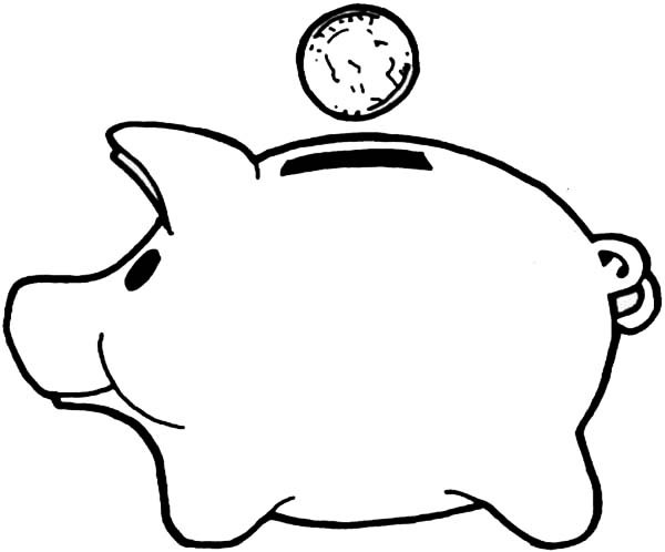 Piggy bank clipart kids saving clip royalty free Piggy Bank Coloring Page. printable ira piggy bank coloring page ... clip royalty free
