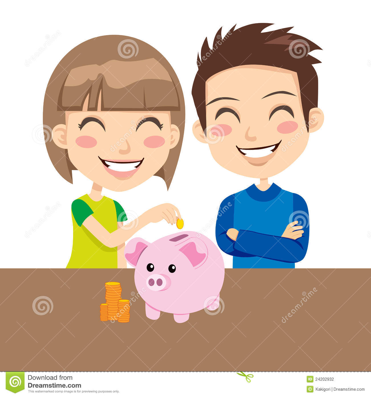 Piggy bank clipart kids saving jpg freeuse Kids Saving Money Stock Photography - Image: 24202932 jpg freeuse