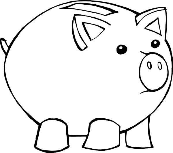 Piggy bank clipart outline graphic free library Piggy Bank Coloring Page - Decimamas graphic free library