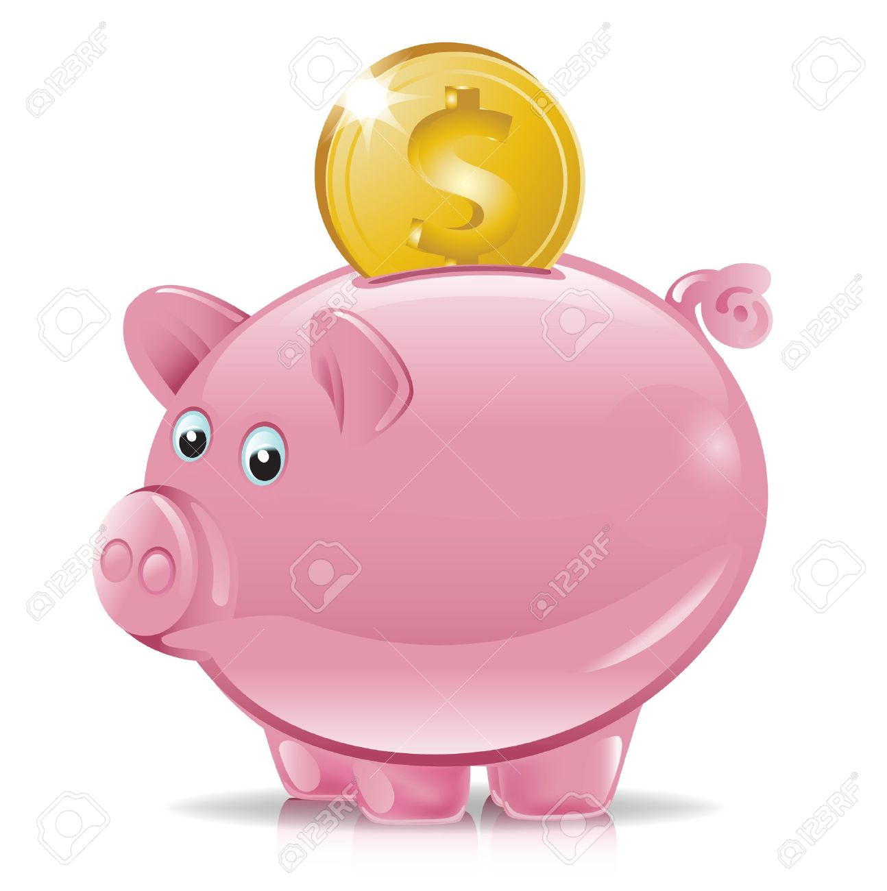 Piggy bank money clipart royalty free library Piggy Bank With Golden Coin Falling Royalty Free Cliparts, Vectors ... royalty free library