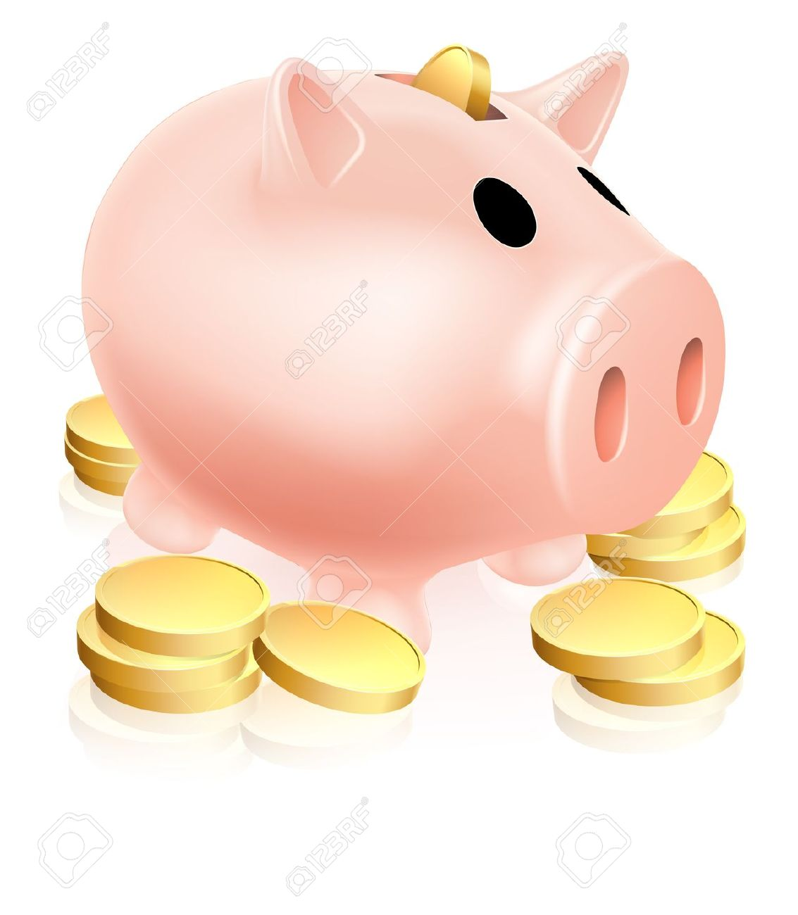 Piggy bank money clipart graphic freeuse download Illustration Of A Piggy Bank Money Box With Gold Coins Around ... graphic freeuse download