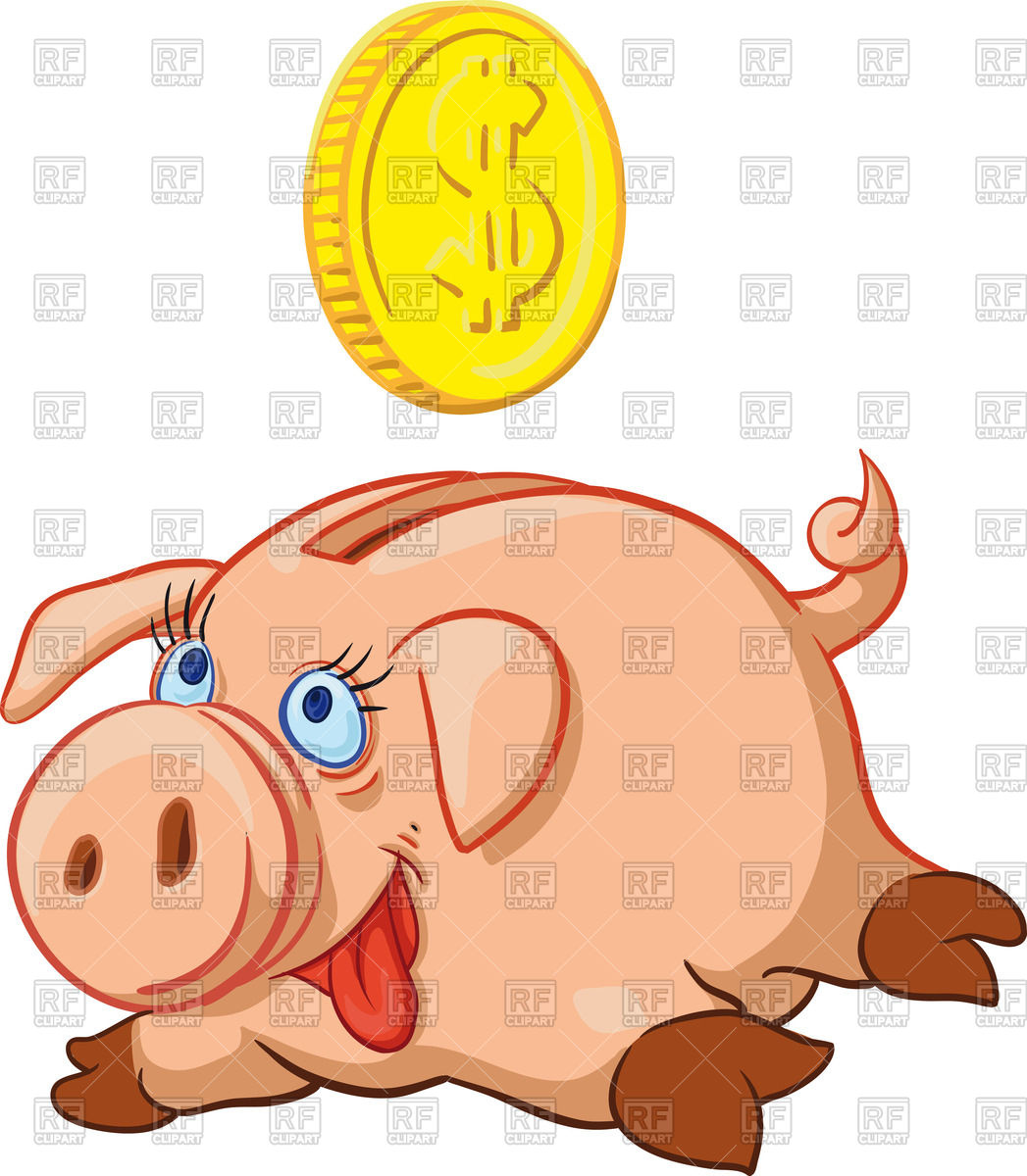 Piggy bank money clipart clipart black and white stock Happy pig piggy bank full of money Vector Image #67739 – RFclipart clipart black and white stock