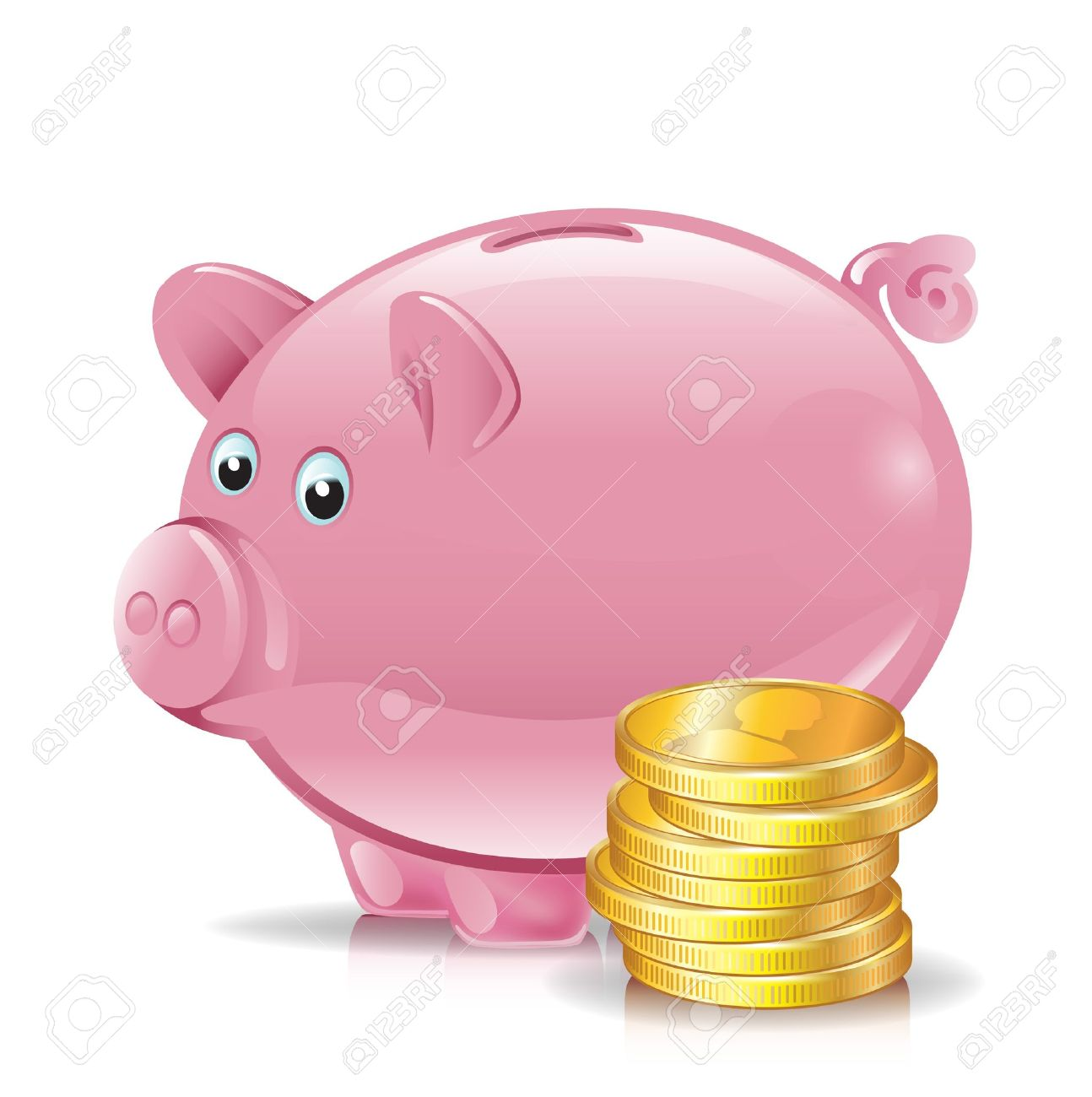 Piggy bank money clipart clip art freeuse stock Stack Of Golden Coins With Piggy Bank Royalty Free Cliparts ... clip art freeuse stock
