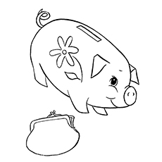 Piggy bank money clipart coloring page cute picture transparent 10 Piggy Bank Coloring Pages For Your Little Ones picture transparent