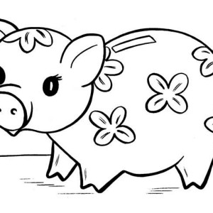 Piggy bank money clipart coloring page cute banner transparent library Putting Coin in Piggy Bank Coloring Page | Color Luna banner transparent library