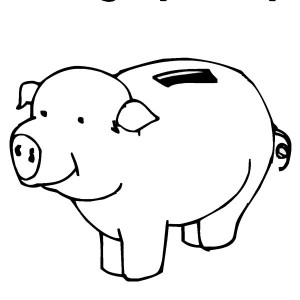 Piggy bank money clipart coloring page cute banner black and white stock Piggy Bank for Saving Dollar Coloring Page | Color Luna banner black and white stock