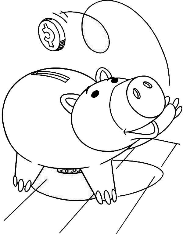 Piggy bank money clipart coloring page cute freeuse Piggy Bank Coloring Pages for Kids – Barriee freeuse