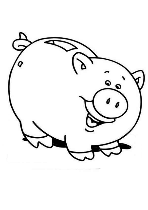 Piggy bank money clipart coloring page cute graphic library download Piggy Bank Coloring Pages for Kids – Barriee graphic library download