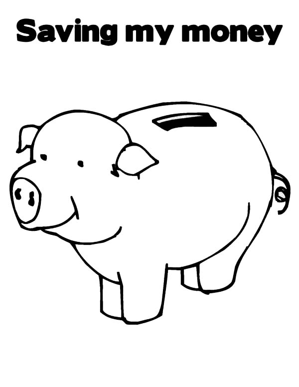 Piggy bank money clipart coloring page cute picture black and white stock Piggy bank money clipart coloring page cute - ClipartFest picture black and white stock