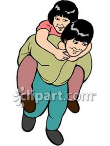 Piggyback ride clipart jpg download Boy Giving His Sister a Piggyback Ride Royalty Free Clipart ... jpg download