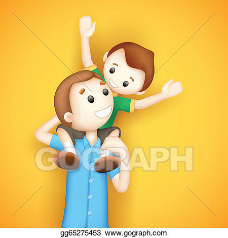 Piggyback ride clipart svg royalty free download Vector Stock - Father giving boy piggy back ride. Clipart ... svg royalty free download