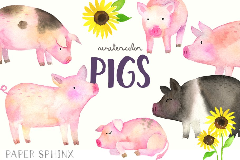 Pigs clipart svg transparent library Watercolor Pigs Clipart Pack svg transparent library