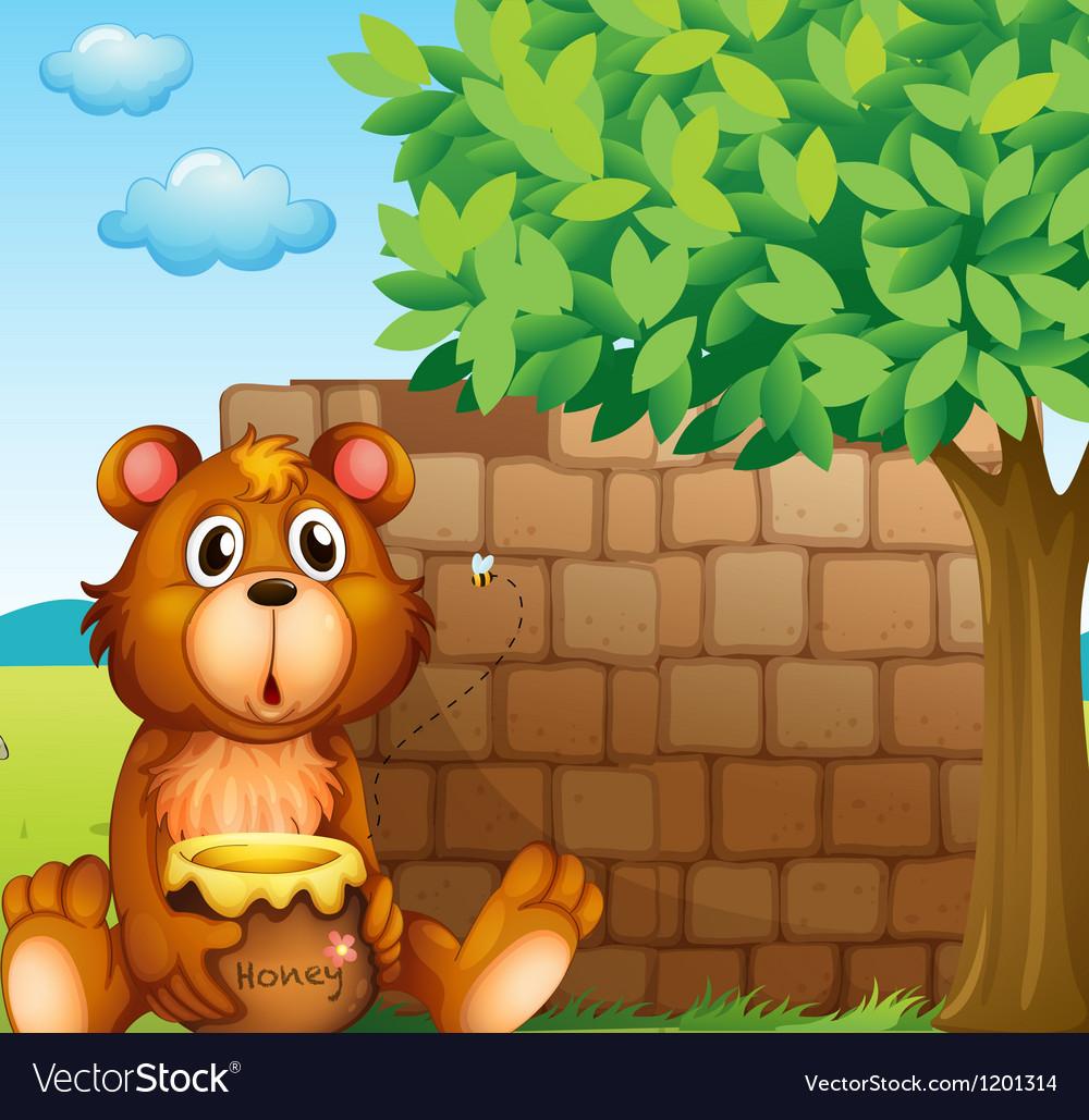 Pile of bricks in the backyard clipart jpg stock A bear with honey near a pile of bricks jpg stock