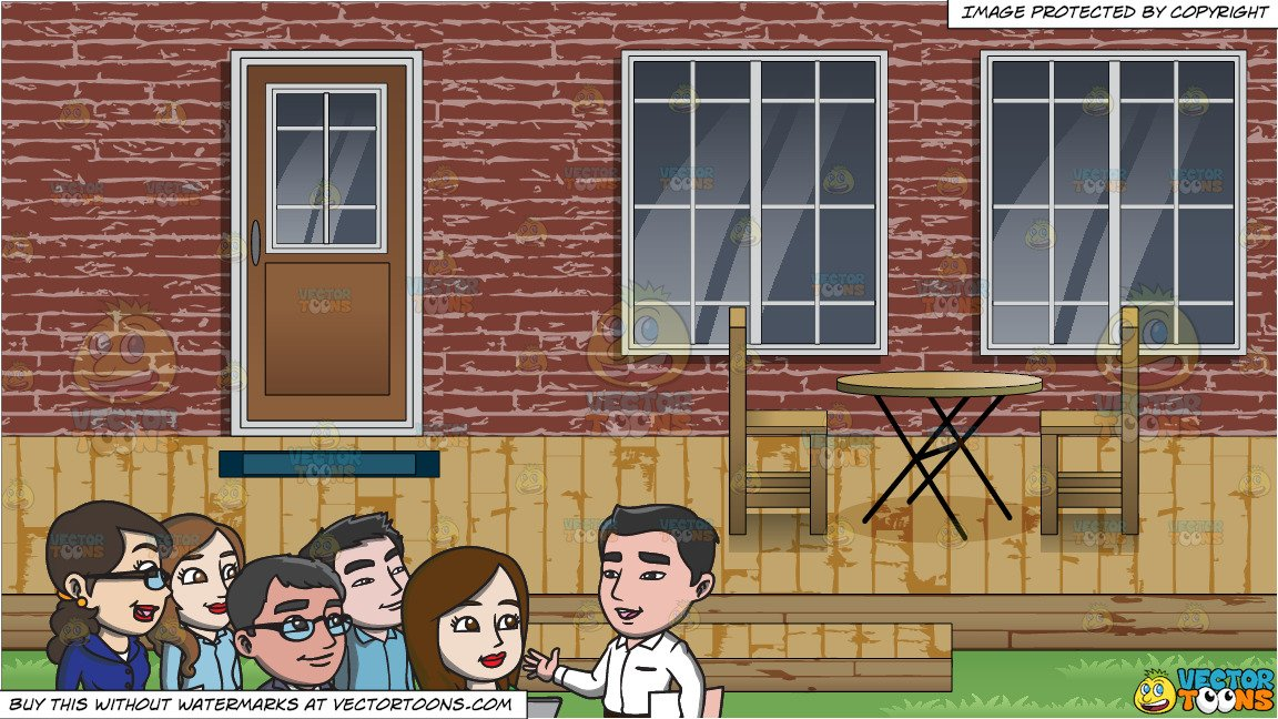 Pile of bricks in the backyard clipart vector freeuse download A Group Of Workers Listening To Their Boss and A Backyard Deck Background vector freeuse download