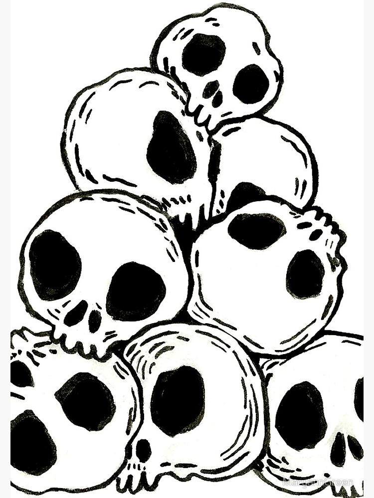 Pile of skulls black and white clipart jpg freeuse library A small pile of skulls | Spiral Notebook jpg freeuse library