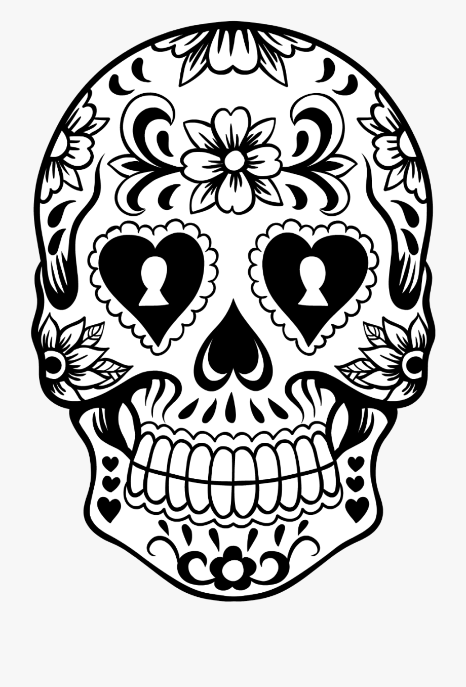 Pile of skulls black and white clipart vector library library Skull Clipart Lace - Sugar Skull Clipart Black And White ... vector library library