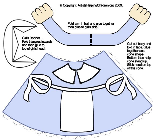 Pilgrim bonnet clipart png free download Pilgrim Bonnet Template | pilgrimgirlpapercrafttoymodel ... png free download