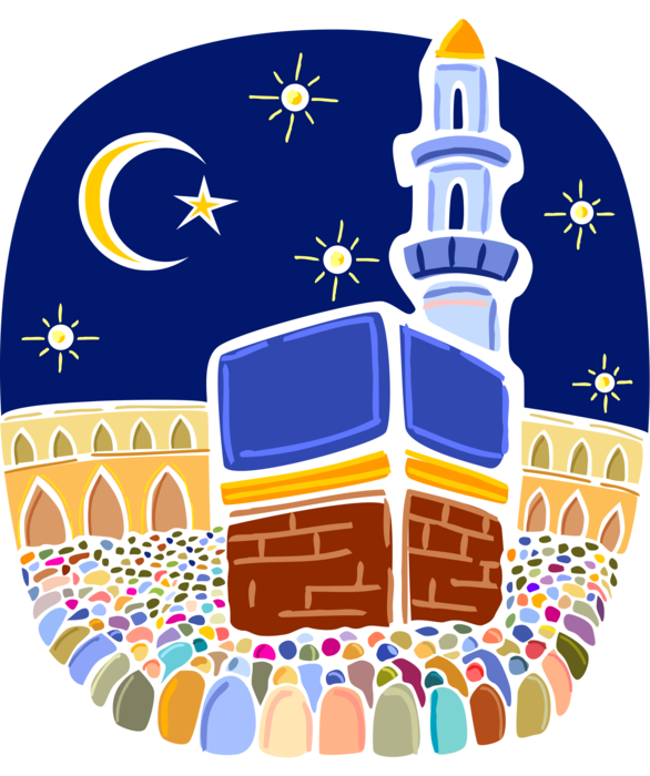 Pilgrimage to mecca clipart picture free Muslim Hajj Pilgrimage in Al Kaaba, Mecca - Vector Image picture free