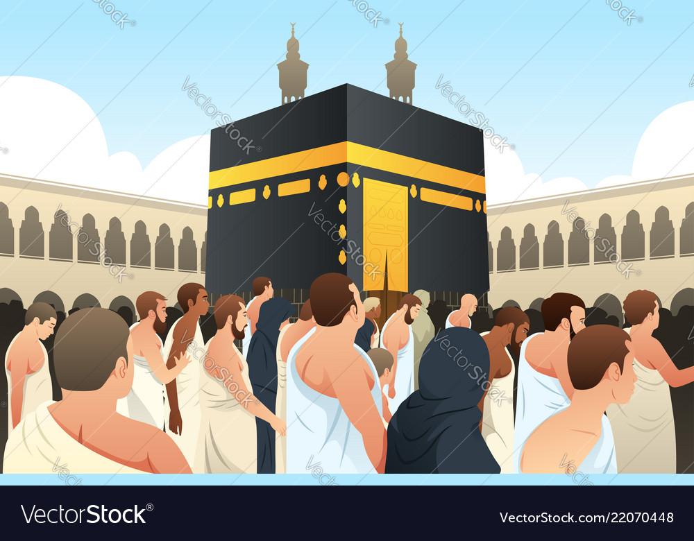 Pilgrimage to mecca clipart image royalty free stock Muslim pilgrims walking around kaaba in mecca image royalty free stock