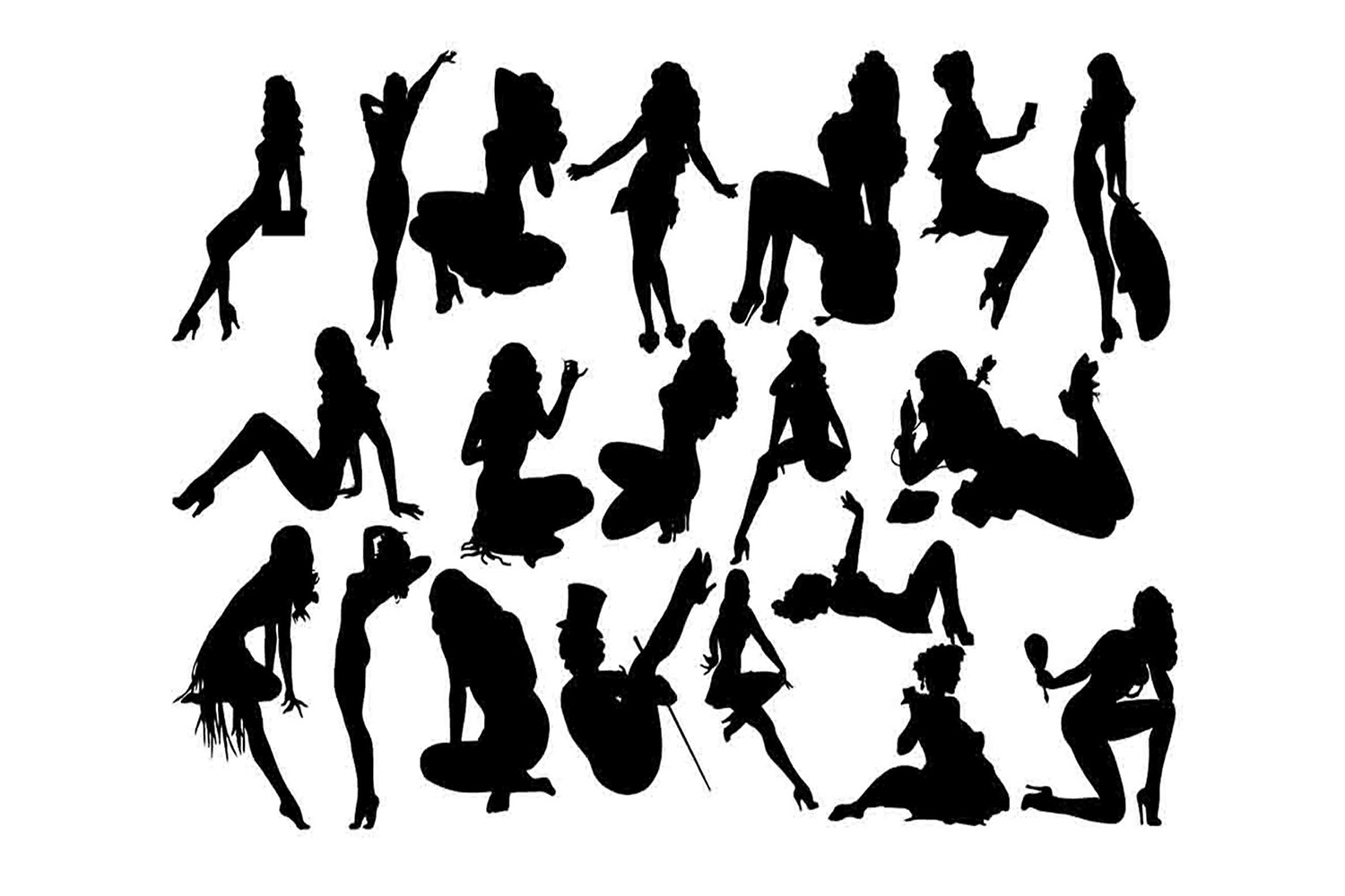 Pin up silhouette clipart png transparent Pin up girl silhouette SVG png transparent
