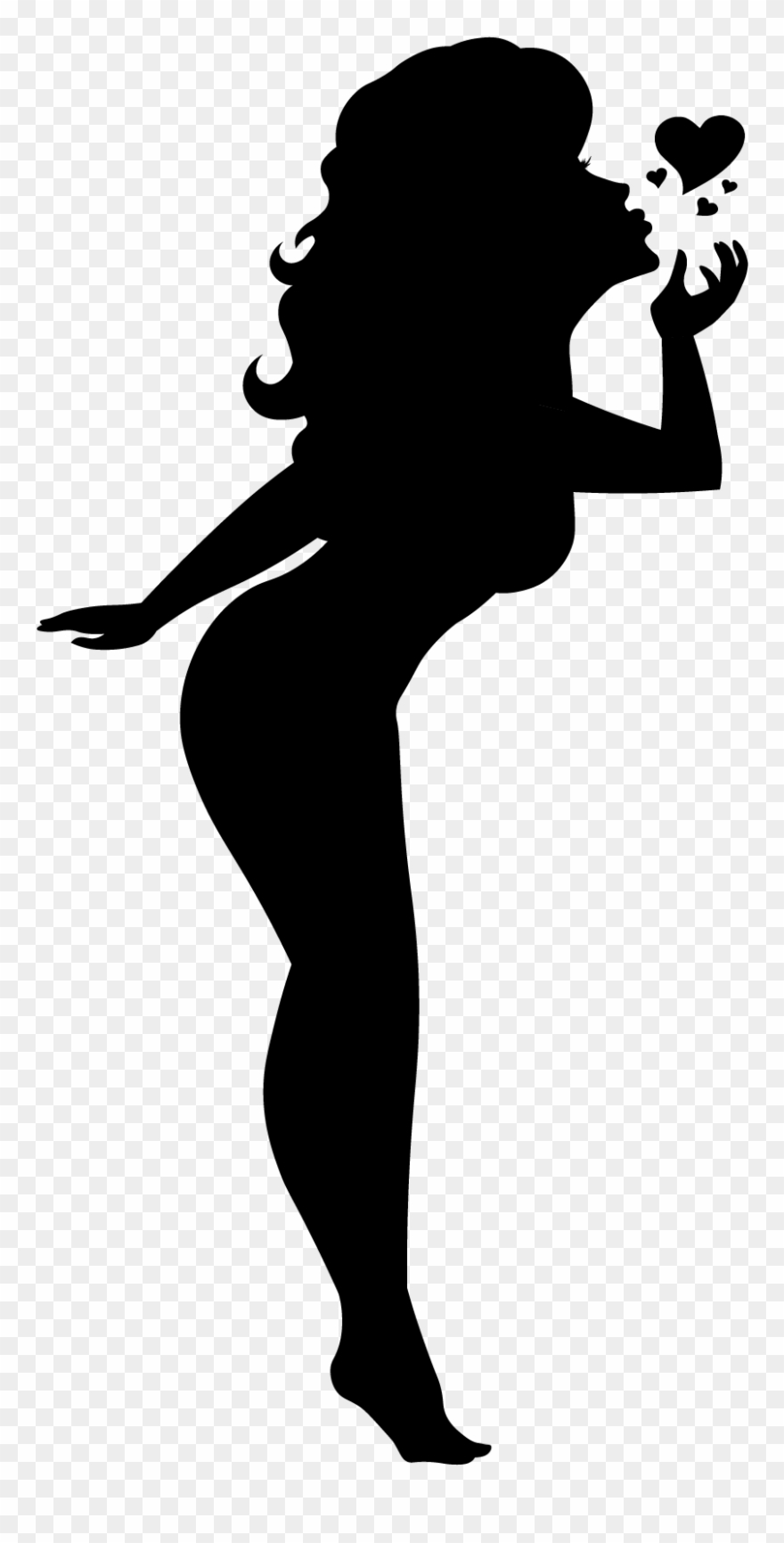 Pin up silhouette clipart graphic freeuse Blowing A Kiss Silhouette Pinup Girl Black Cutout Pin - Pin ... graphic freeuse